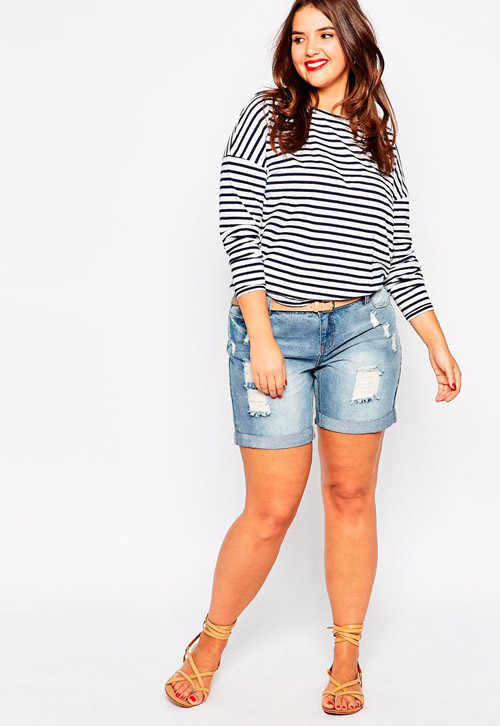 Set đồ quần short cạp cao cùng áo thun tạo nên sự năng động, trẻ trung là cách phối đồ cho người mập phổ biến